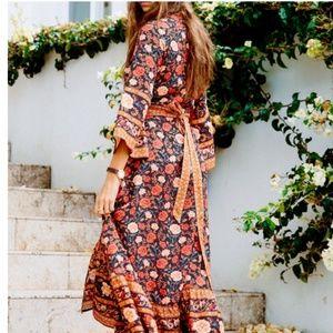 boho chic gypsy Floral print rust  waist tie dress